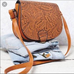 Vegan Tooled Saddle Bag